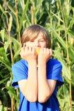 男孩玉米吃 库存照片