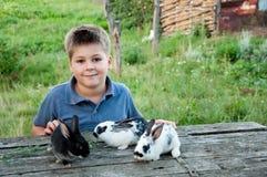 男孩用一只兔子在庭院里 库存照片
