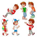 男孩用不同的姿势和表达式。 免版税库存图片