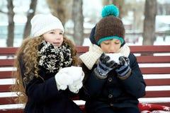 男孩用女孩一起饮料咖啡在长凳的冬天 库存照片