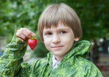 男孩用草莓 库存图片