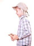 年轻男孩用途后摆投球法射击普通话 库存照片