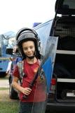 男孩用暴乱设备 免版税库存图片