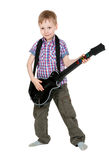 男孩电子吉他 免版税库存照片