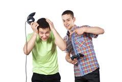 男孩电脑游戏控制杆作用 免版税库存照片