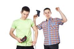 男孩电脑游戏被绝缘的作用 免版税库存照片