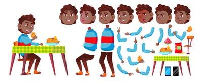 男孩男小学生孩子传染媒介 投反对票 美国黑人 高中孩子 动画创作集合 面孔情感,姿态 库存例证