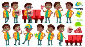 男孩男小学生孩子姿势被设置的传染媒介 投反对票 美国黑人 小学孩子 可笑的同学 秋天,类 为 库存例证