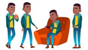 男孩男小学生孩子姿势被设置的传染媒介 投反对票 美国黑人 高中孩子 中等教育 教育,演讲 皇族释放例证