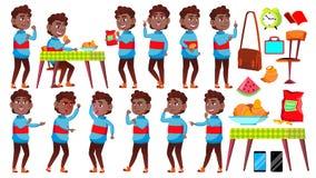 男孩男小学生孩子姿势被设置的传染媒介 投反对票 美国黑人 高中孩子 儿童学生 大学,毕业生,类 库存例证