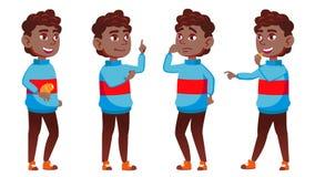 男孩男小学生孩子姿势被设置的传染媒介 投反对票 美国黑人 高中孩子 学校学生 欢呼,俏丽,青年时期 为 库存例证