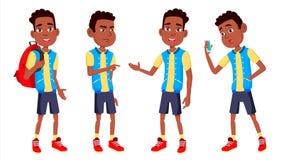 男孩男小学生孩子姿势被设置的传染媒介 高中孩子 投反对票 美国黑人 儿童研究 知识,学会,教训 皇族释放例证