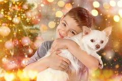 男孩画象有白色狗的在圣诞树旁边 新年2018年 假日概念,圣诞节,新年背景 免版税图库摄影