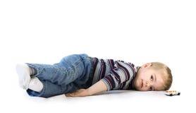 男孩疲倦 图库摄影