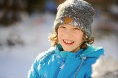 男孩的冬天画象 免版税库存照片