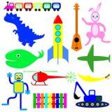 男孩的各种各样的玩具 免版税库存图片