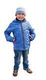 男孩的照片在冬天穿衣。 库存图片