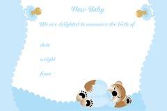 男孩的生日贺卡有逗人喜爱的熊的 免版税库存图片