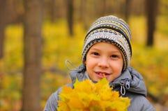 男孩的秋天画象 免版税库存图片
