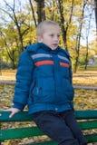 男孩的画象在秋天 免版税图库摄影