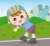 男孩直排轮式溜冰鞋 免版税库存照片