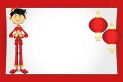 男孩看板卡中国问候新年度 免版税库存图片