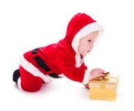 男孩看板卡庆祝的查出的圣诞老人工作室 库存图片