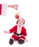 男孩看板卡庆祝的查出的圣诞老人工作室 免版税库存图片