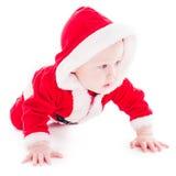 男孩看板卡庆祝的查出的圣诞老人工作室 免版税库存照片