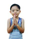 男孩祈祷的年轻人 免版税库存照片