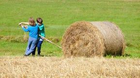 男孩移动的大包干草用棍子作为杠杆 库存图片