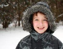 男孩纵向冬天 库存照片