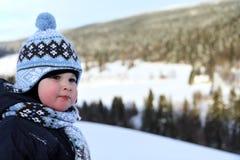 男孩纵向小的冬天 图库摄影