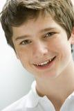 男孩纵向微笑少年 图库摄影