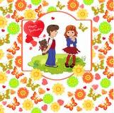 男孩给女孩一件礼物 花,心脏, butterfl背景  免版税库存图片