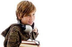男孩耳机纵向学校 图库摄影