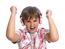男孩耳机纵向 库存照片
