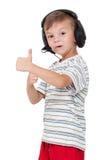 男孩耳机 免版税库存图片