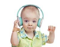男孩耳机 免版税图库摄影
