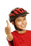 男孩自行车盔甲 免版税库存照片