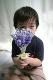 男孩藏品淡紫色 免版税库存图片