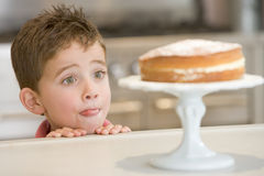 男孩蛋糕看起来计数器的厨房新 库存照片