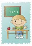 男孩被画的现有量学校 库存照片
