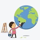 男孩被绘的地球以绿色 库存图片