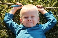 男孩被画的现有量愉快的照片 免版税库存图片