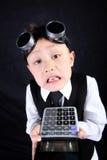 男孩计算器 免版税库存图片