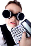 男孩计算器 图库摄影
