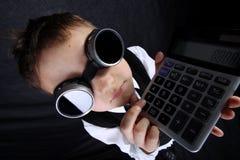 男孩计算器 库存照片