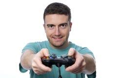 男孩计算机游戏 免版税库存图片