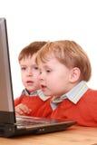 男孩计算机 库存图片